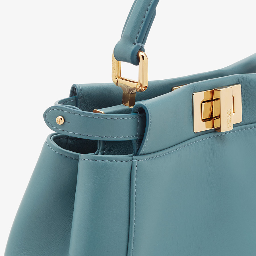 FENDI PEEKABOO ICONIC MINI - Pale blue leather bag - view 5 detail