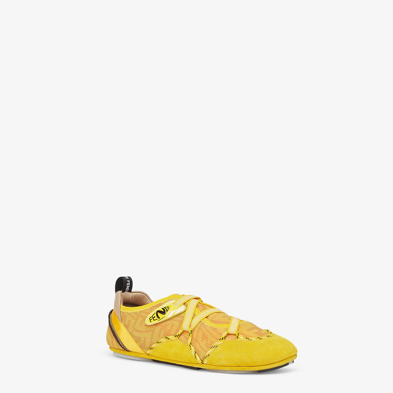 FENDI FENDI FLEX - Yellow suede sneakers - view 2 detail