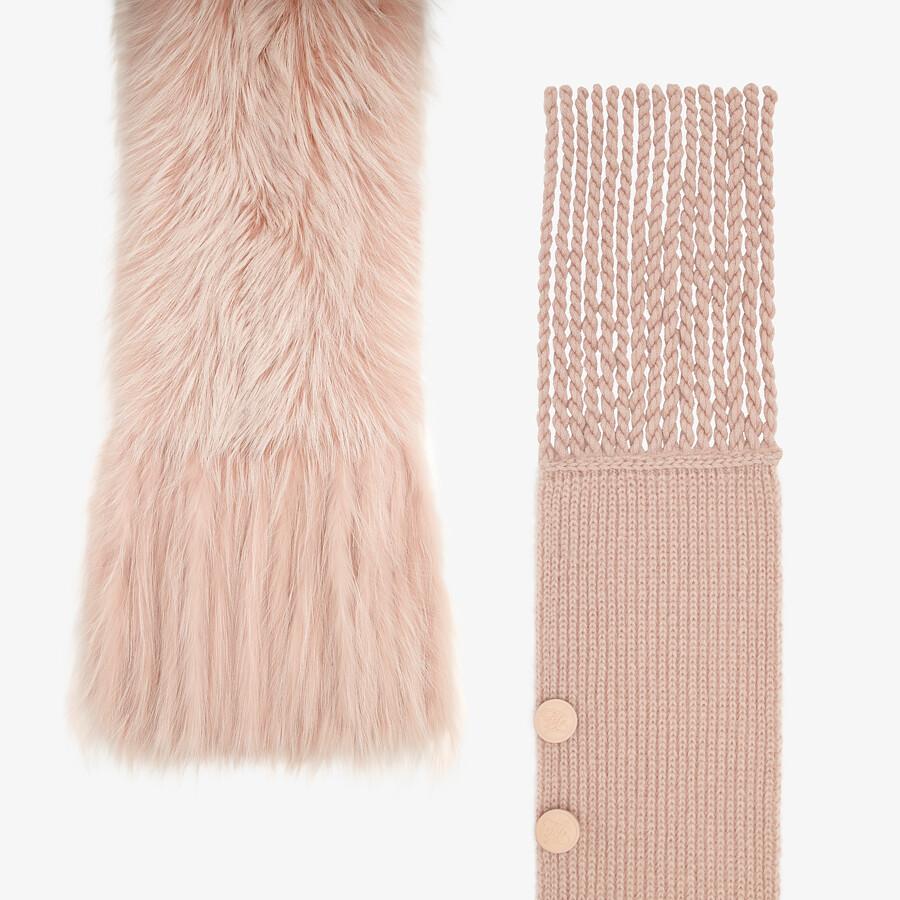FENDI MAXI STOLE - Pink fox fur oversized stole - view 2 detail