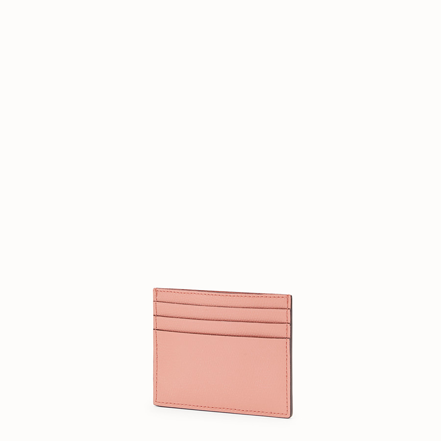 FENDI CARD HOLDER - Pink leather flat card holder - view 2 detail