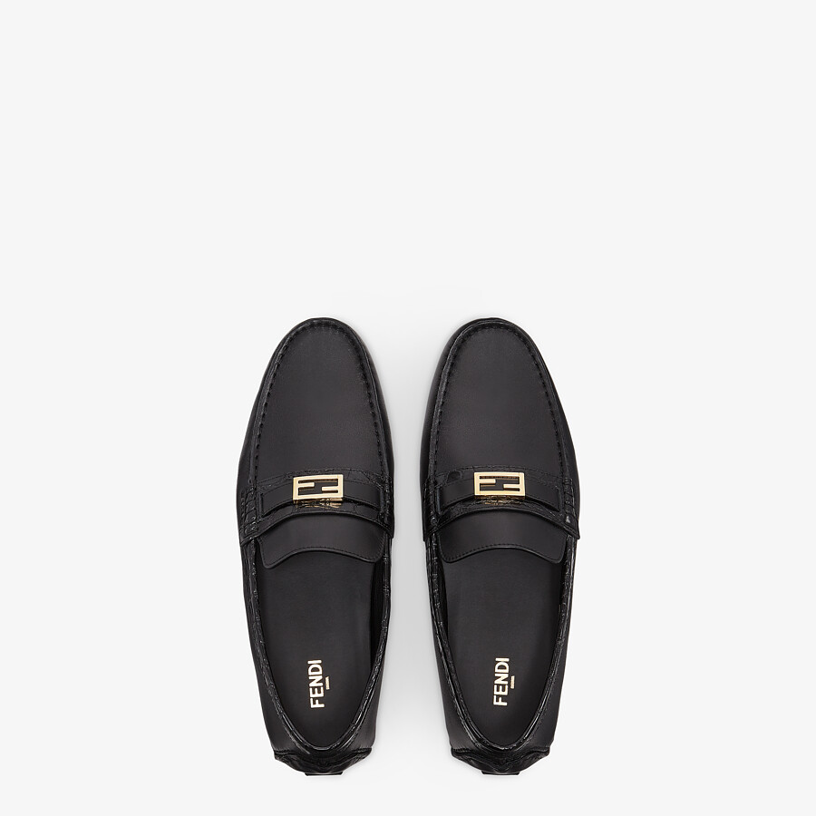 FENDI LOAFERS - Black leather and caiman drivers. - view 4 detail
