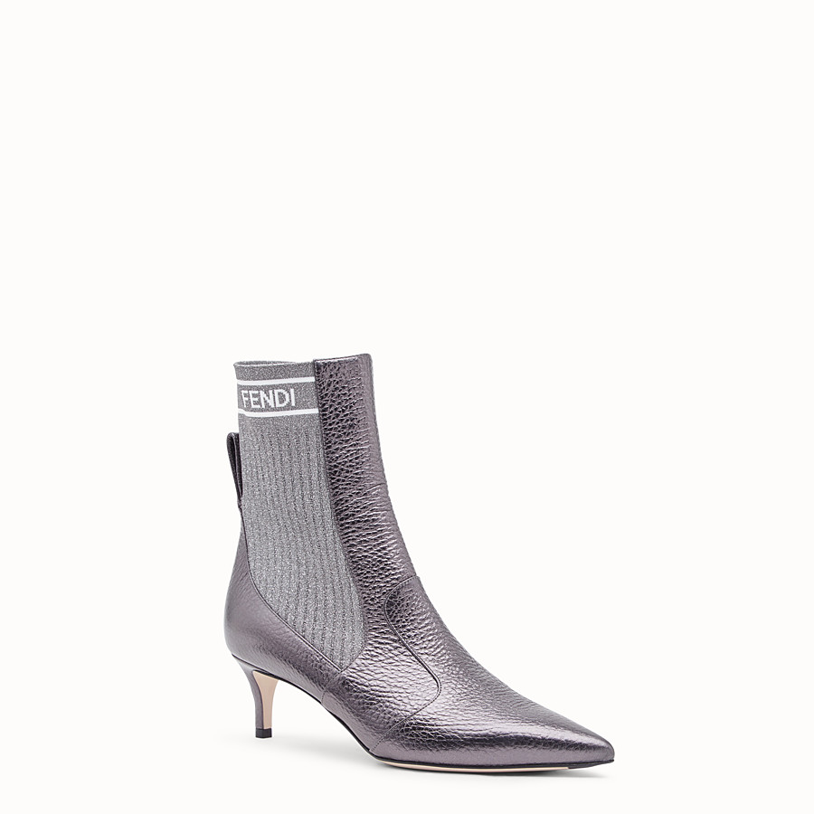 FENDI BOTTES - Bottines en cuir gris - view 2 detail
