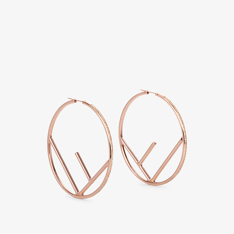 FENDI F IS FENDI EARRINGS - Pink-gold-coloured earrings - view 1 detail