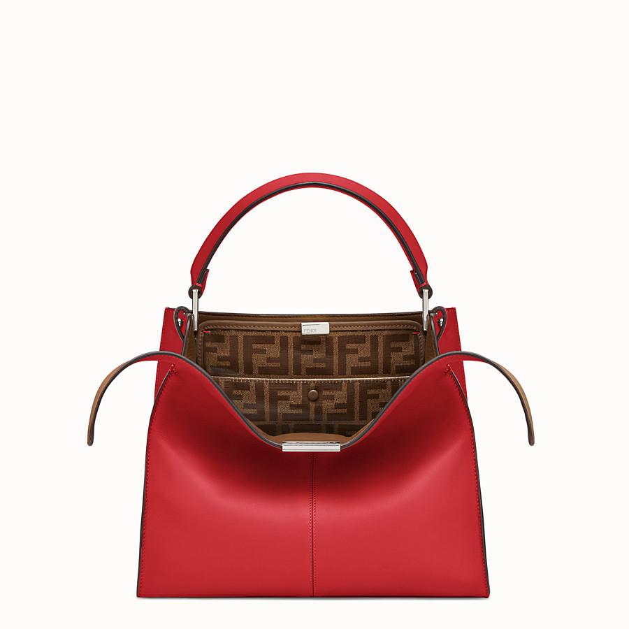 FENDI PEEKABOO X-LITE REGULAR - Red leather bag - view 1 detail