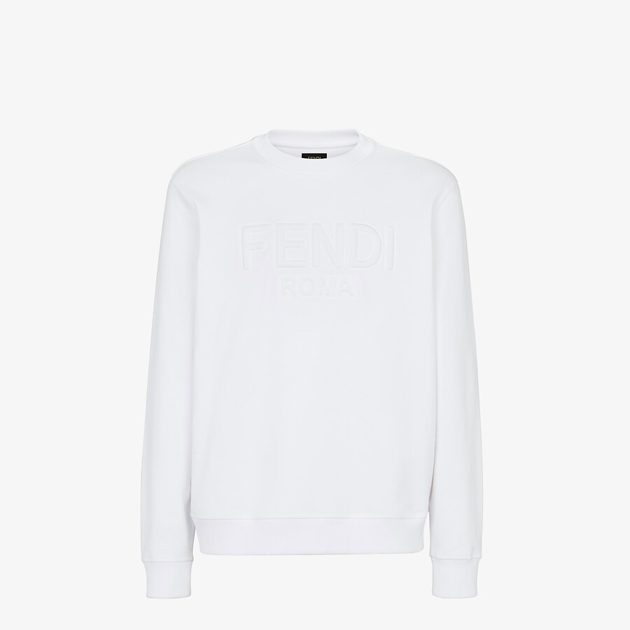 FENDI SWEATSHIRT - White jersey sweatshirt - view 1 detail