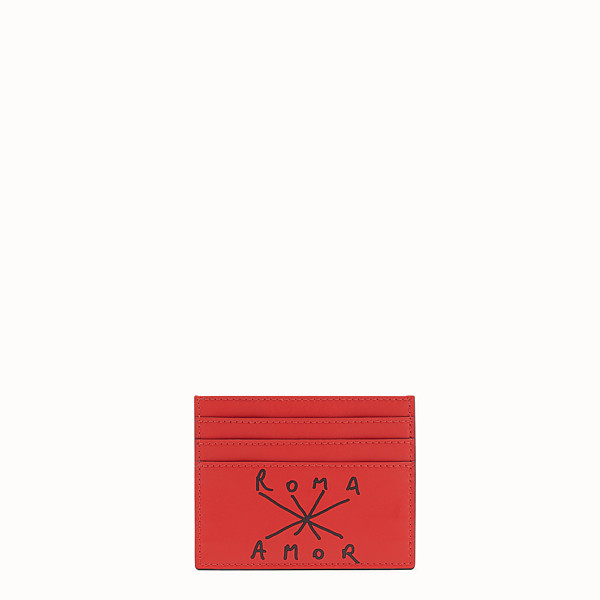 FENDI CARD HOLDER - Red leather card holder - view 1 small thumbnail