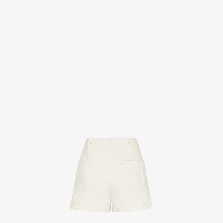 FENDI SHORTS - White denim shorts - view 2 detail