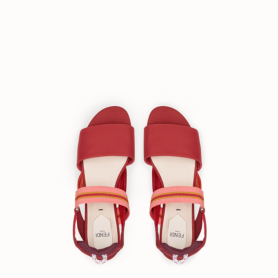 FENDI SANDALS - Red tech fabric flats - view 4 detail