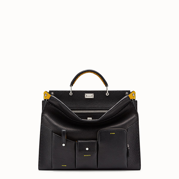 FENDI PEEKABOO FIT POCKETS - Black leather bag - view 1 small thumbnail