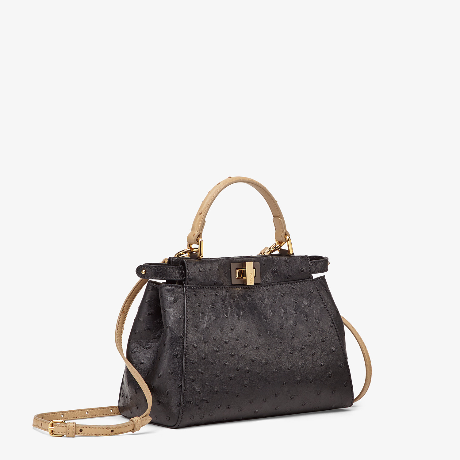 FENDI PEEKABOO ICONIC MINI - Black ostrich leather bag - view 2 detail