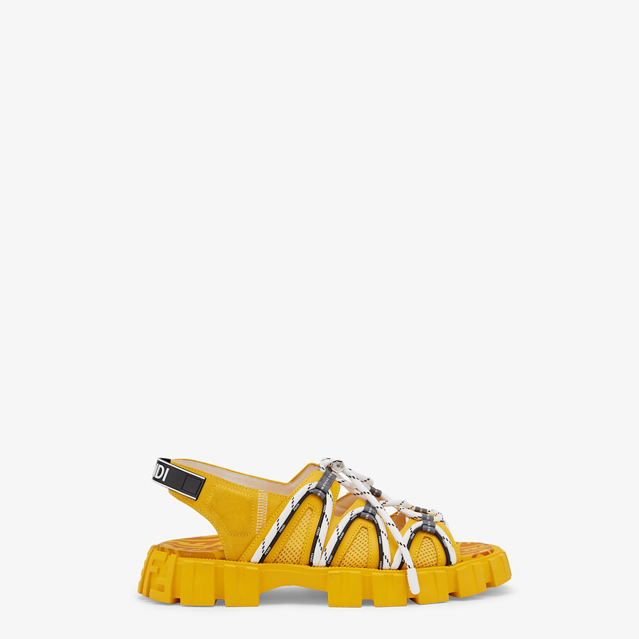 FENDI SANDALS - Yellow leather and tech mesh sandals - view 1 detail