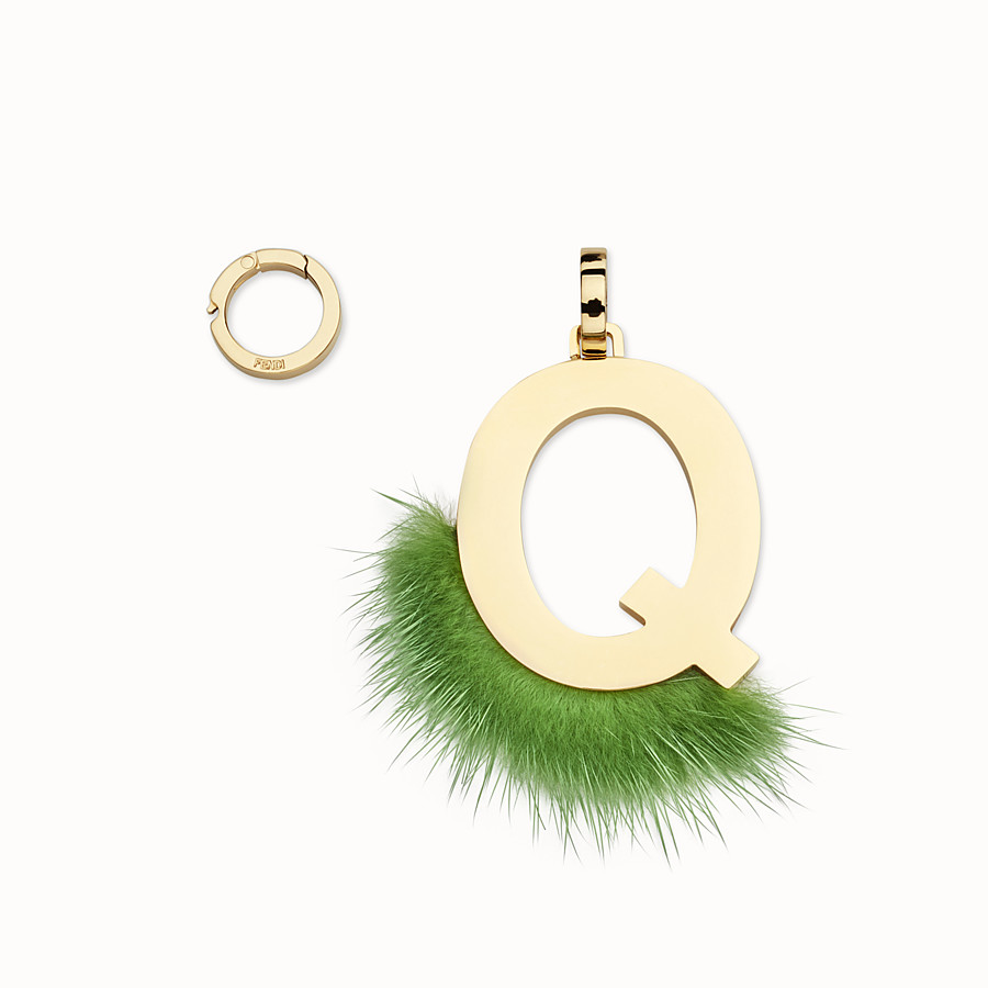 FENDI ABCLICK Q - Pendant with green fur - view 1 detail