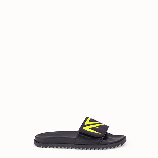 FENDI SLIDES - Black scuba and leather fussbetts - view 1 small thumbnail