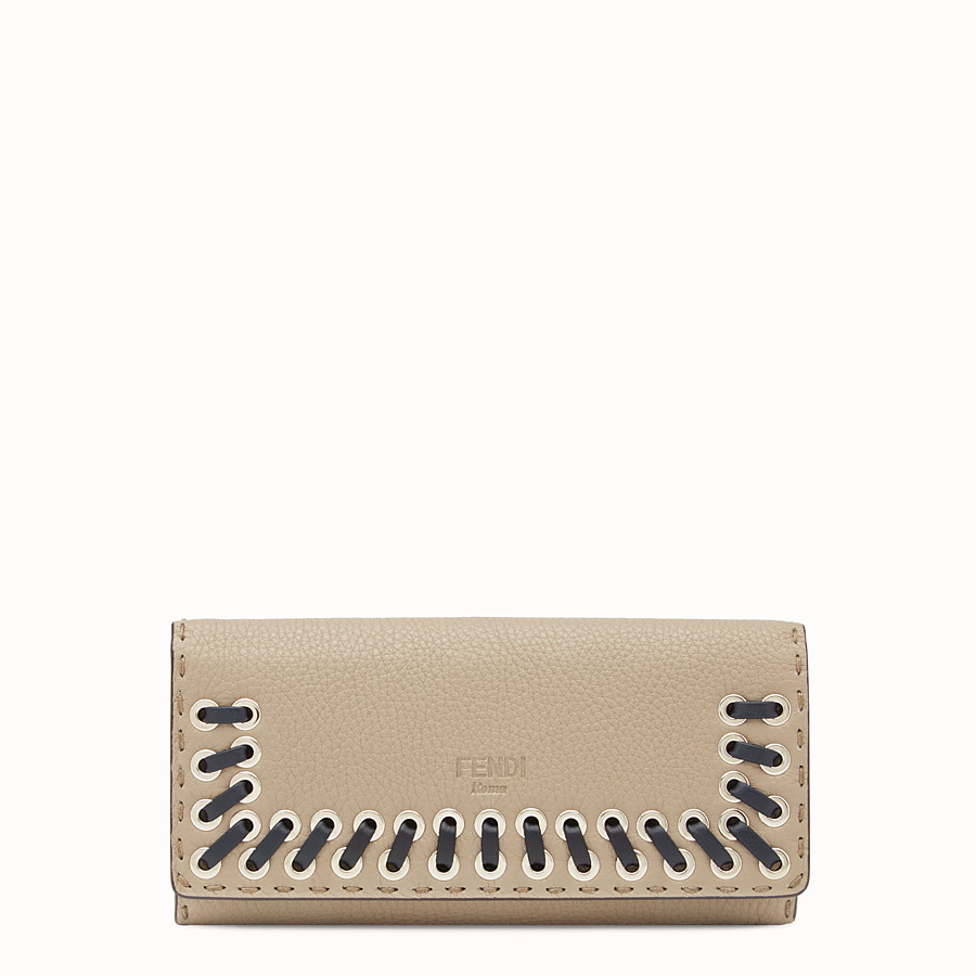 FENDI CONTINENTAL - Selleria beige and grey continental wallet - view 1 detail