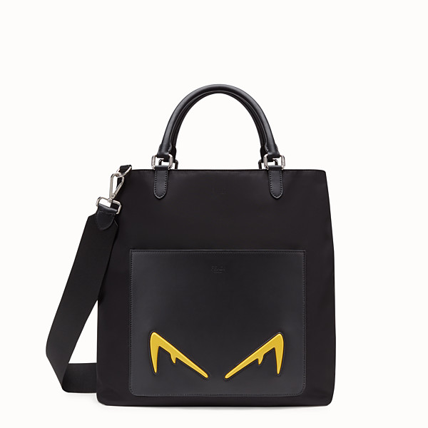 FENDI TOTE BAG - Shopper in black leather and nylon - view 1 small thumbnail