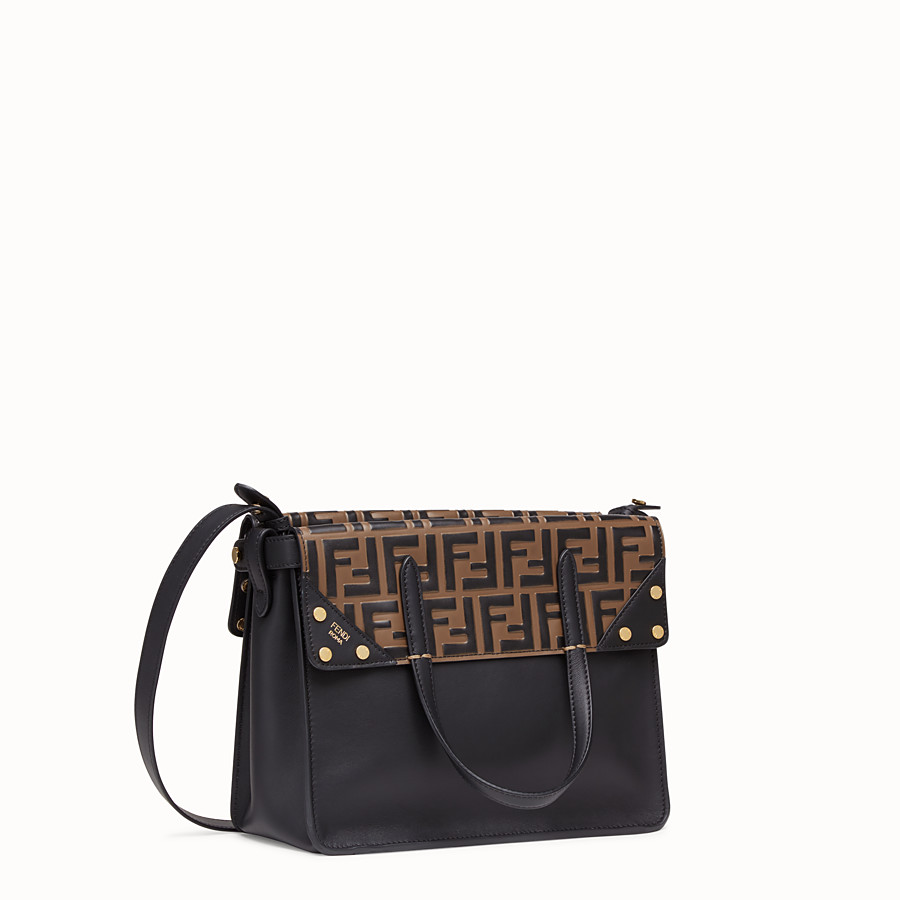 FENDI FENDI FLIP REGULAR - Black leather bag - view 4 detail
