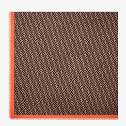 FENDI FF SHAWL - Brown-coloured shawl in cashmere and silk - view 1 thumbnail