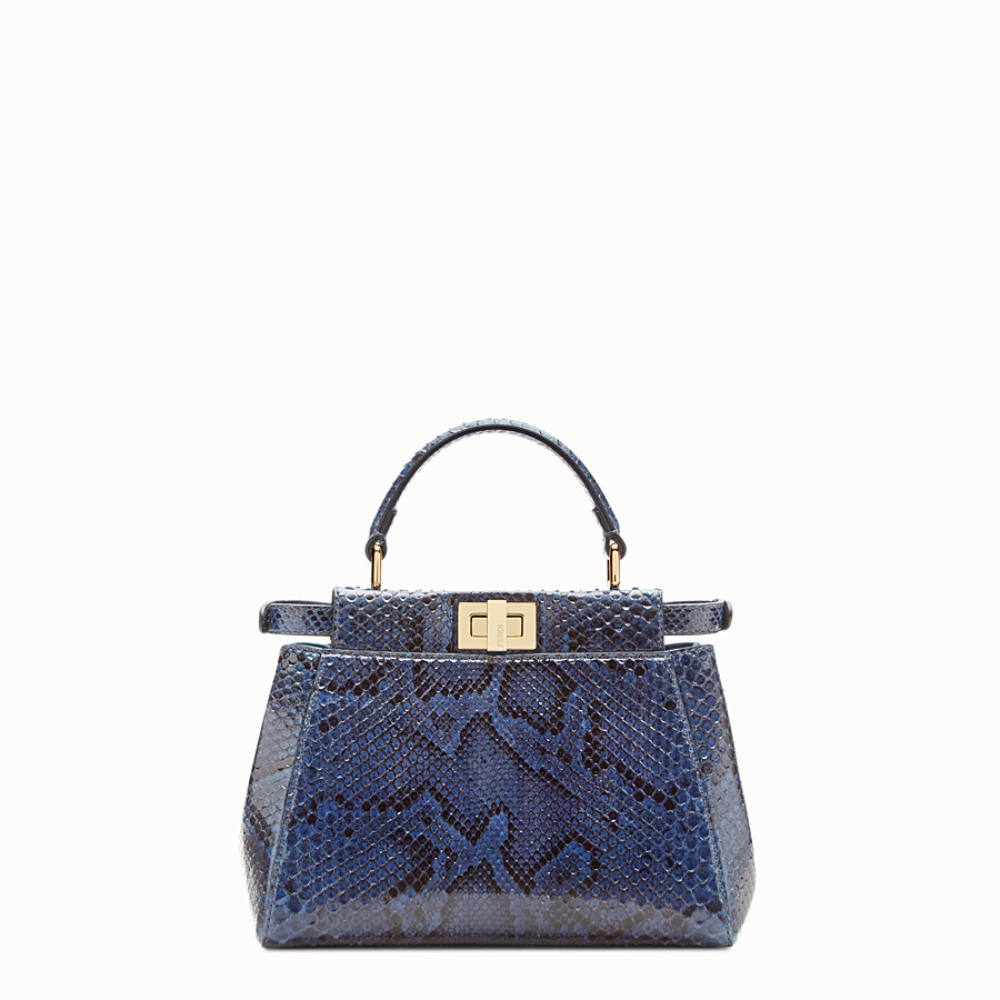 FENDI PEEKABOO MINI - sac à main en python bleu - view 3 detail