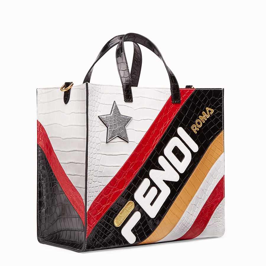 FENDI SHOPPER - Multicolour crocodile leather bag - view 2 detail