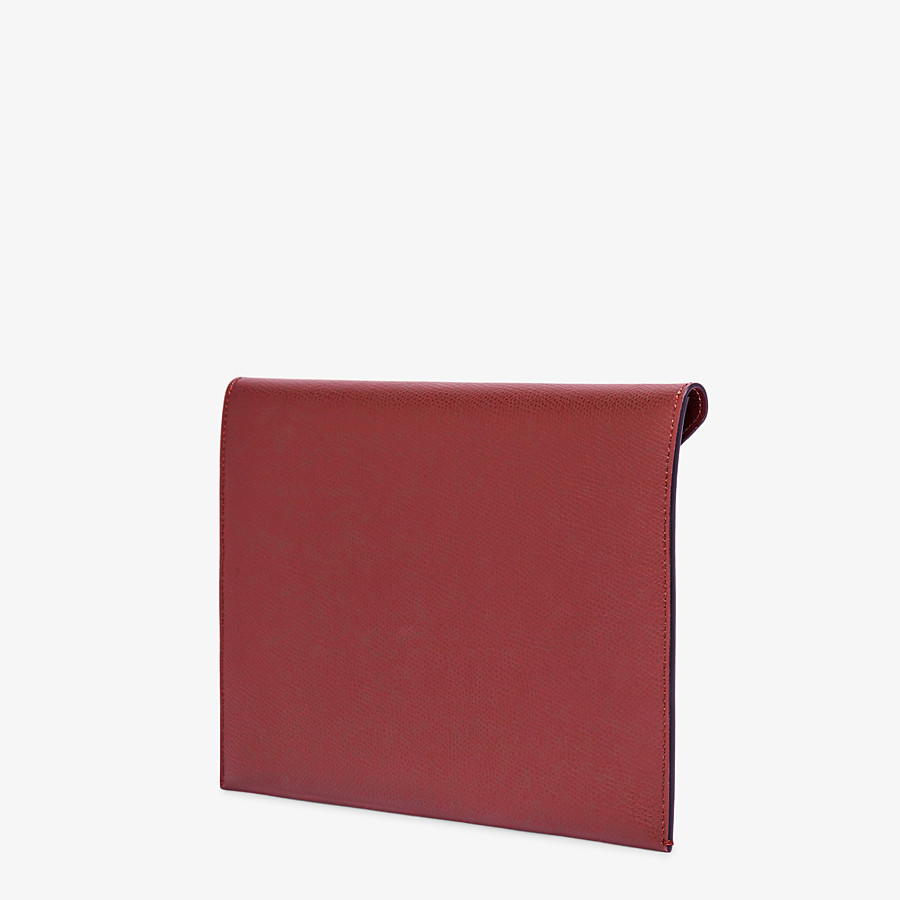 FENDI FLAT POUCH LARGE - Burgundy leather pouch - view 2 detail