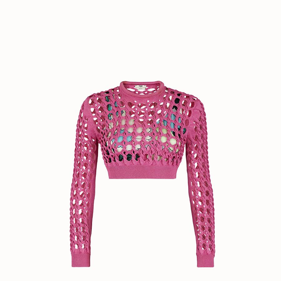 FENDI JUMPER - Fuchsia knit pullover - view 1 detail