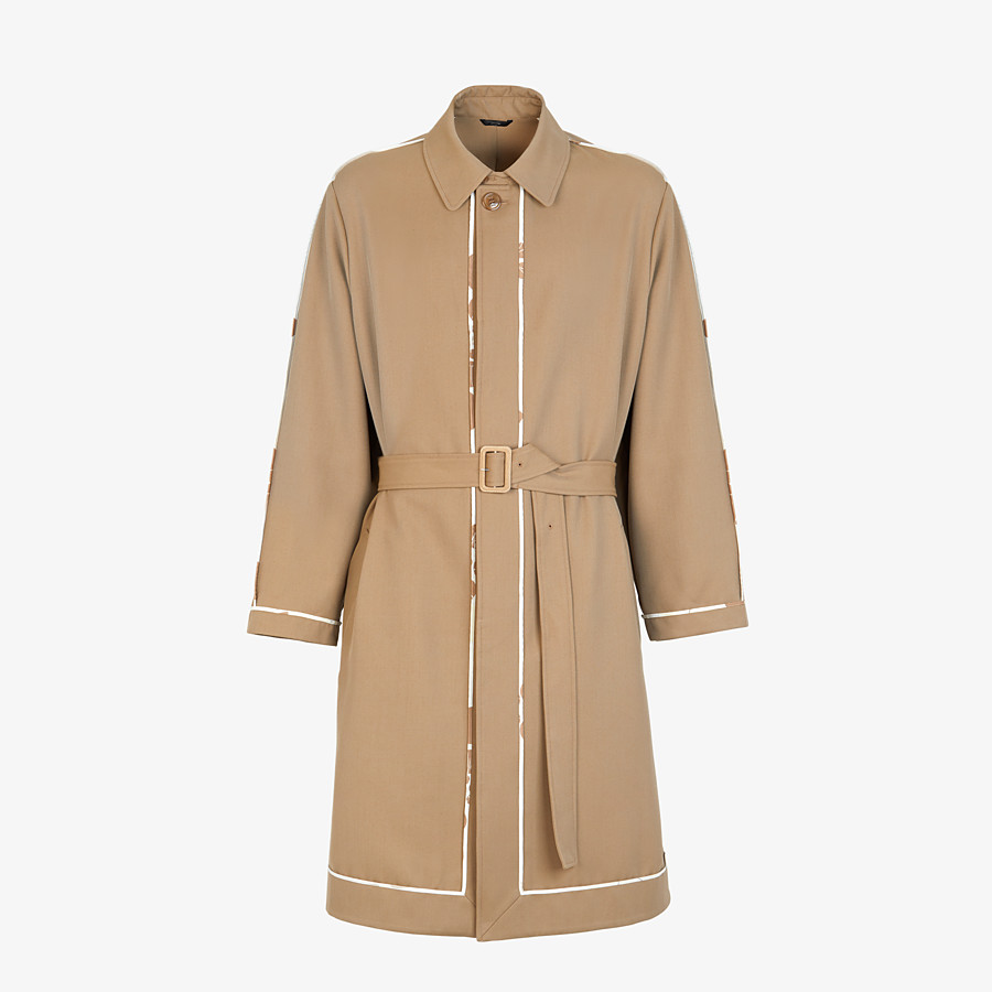 FENDI TRENCH COAT - Brown twill overcoat - view 1 detail