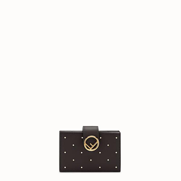 FENDI 卡片套 - 黑色皮革角撐式卡片套 - view 1 小型縮圖