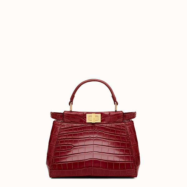 FENDI PEEKABOO MINI - Red crocodile leather handbag. - view 1 small thumbnail