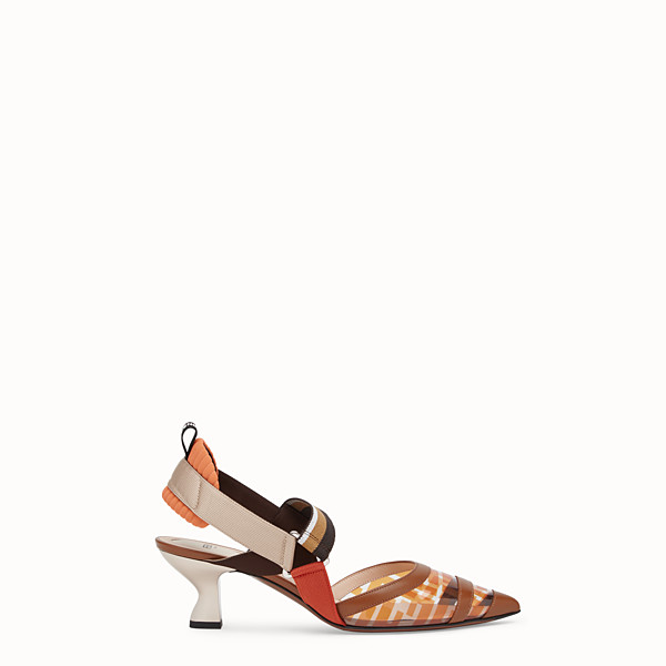 FENDI COURT SHOES - Slingbacks in PU and orange leather - view 1 small thumbnail