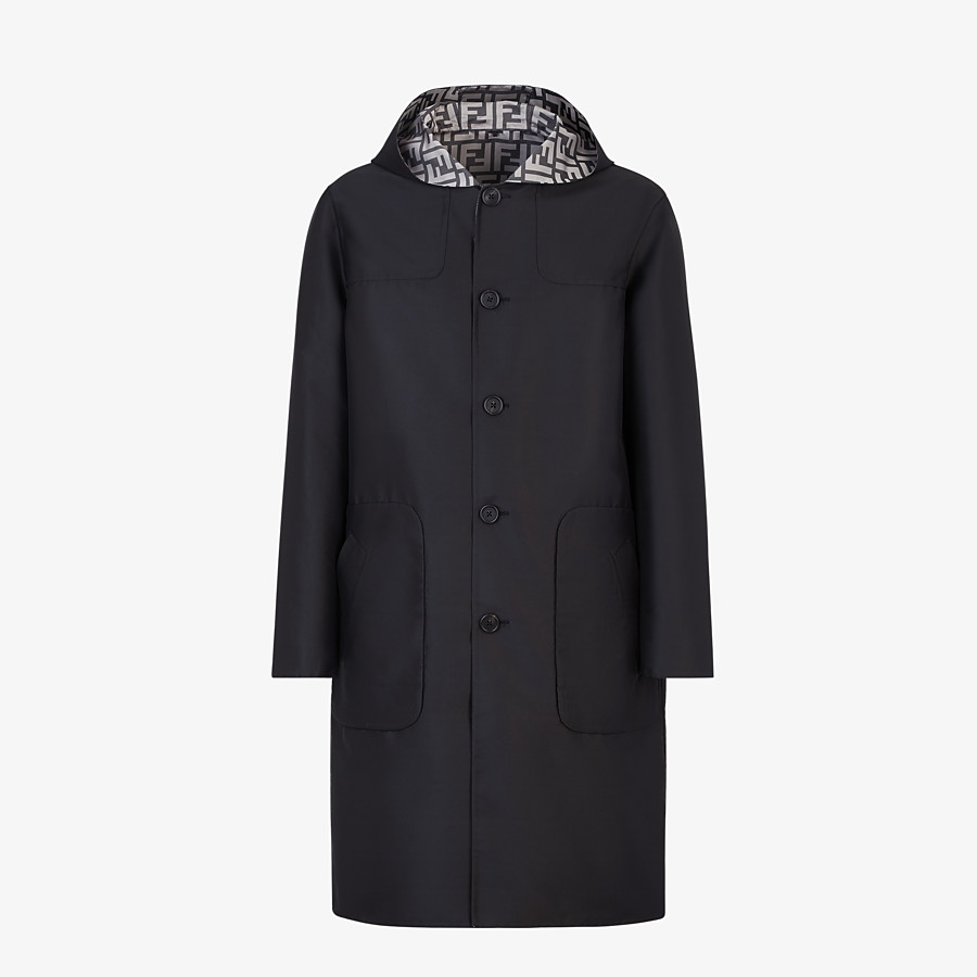 FENDI DUFFEL COAT - Black nylon coat - view 1 detail