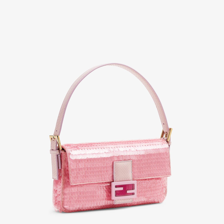 FENDI BAGUETTE 1997 - Pink satin bag with sequins - view 3 detail