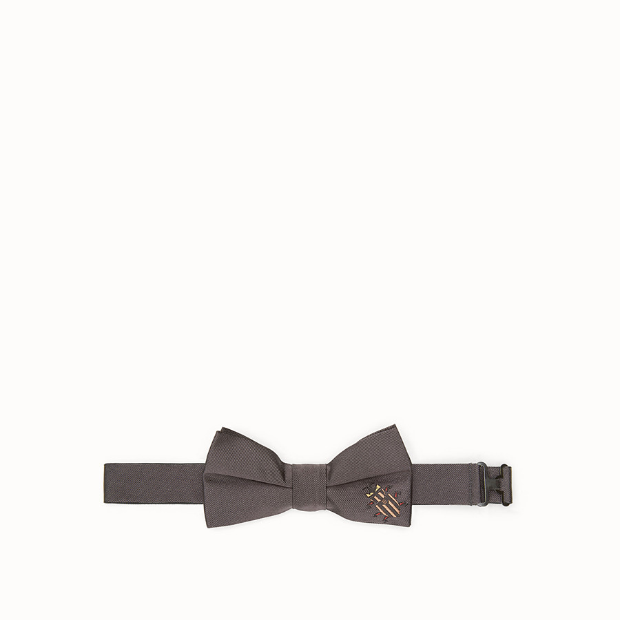 FENDI BOW TIE - Grey silk bow tie - view 1 detail