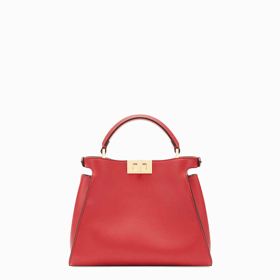 FENDI PEEKABOO ICONIC ESSENTIALLY - Red leather bag - view 4 detail