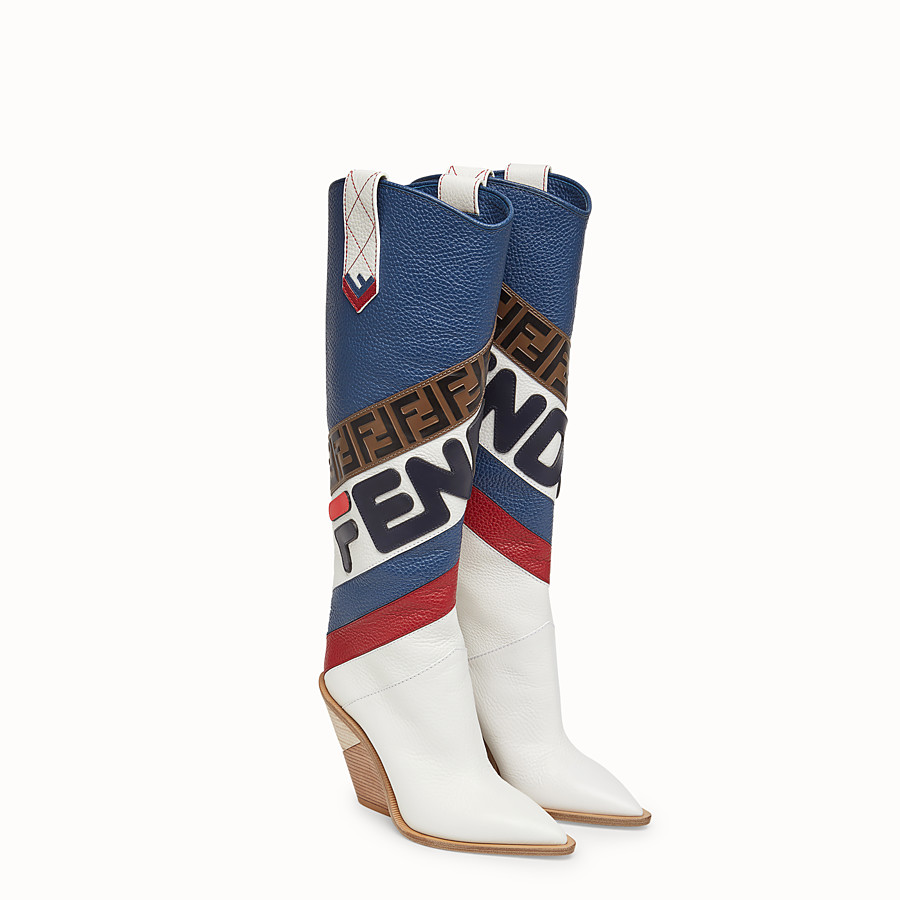 FENDI BOOTS - Multicoloured leather boots - view 4 detail
