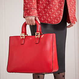 FENDI FF TOTE MEDIUM - Red leather bag - view 2 thumbnail