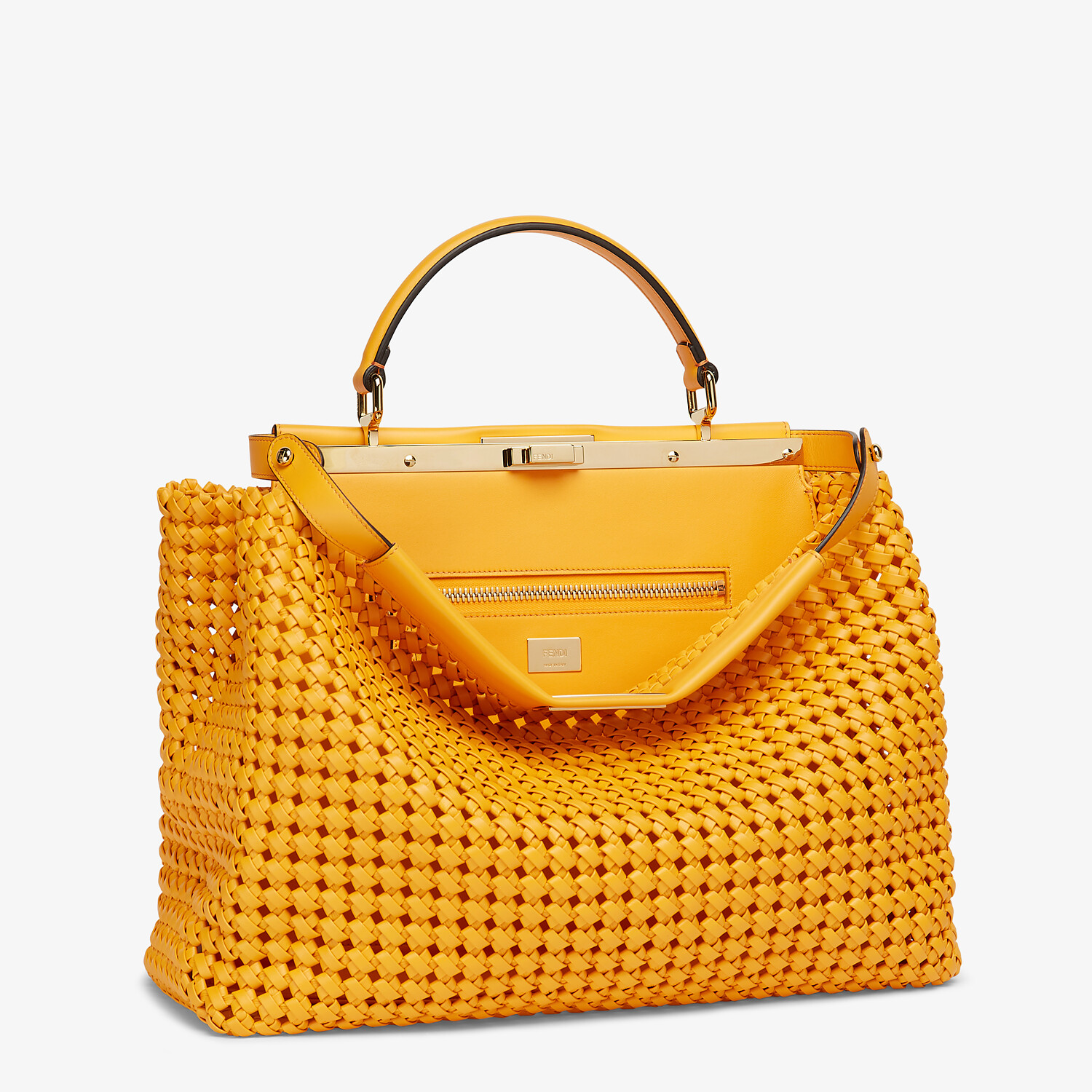 FENDI PEEKABOO ICONIC LARGE - Orange braided leather bag - view 2 detail