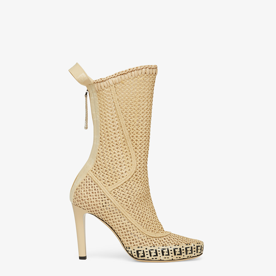 FENDI FENDI REFLECTIONS ANKLE BOOTS - Beige raffia booties - view 1 detail