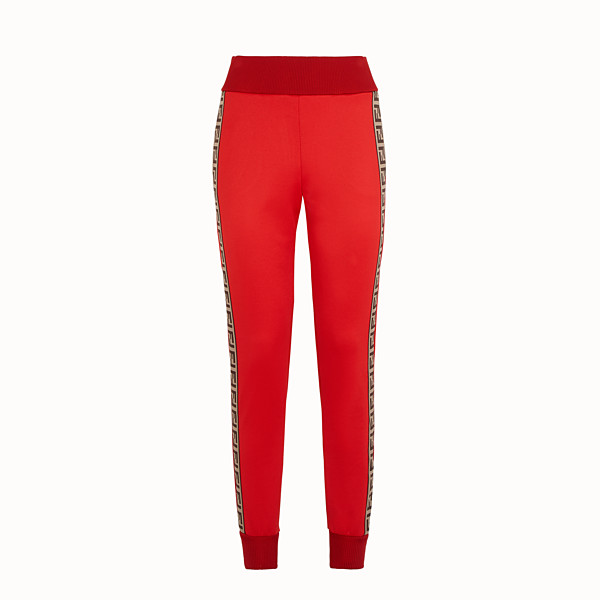 FENDI TROUSERS - Red jersey jogging trousers - view 1 small thumbnail