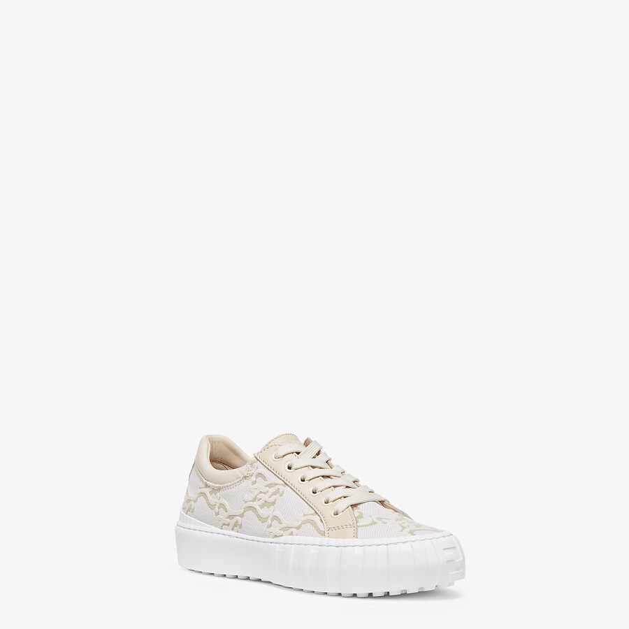 FENDI FENDI FORCE - White fabric low-top sneakers - view 2 detail