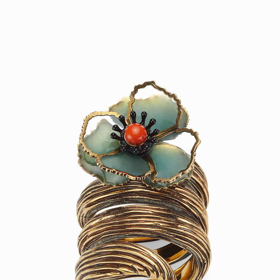 FENDI FLOWER RING - Green enamel ring - view 2 detail
