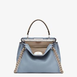 FENDI PEEKABOO ICONIC MEDIUM - Pale blue leather bag - view 1 thumbnail