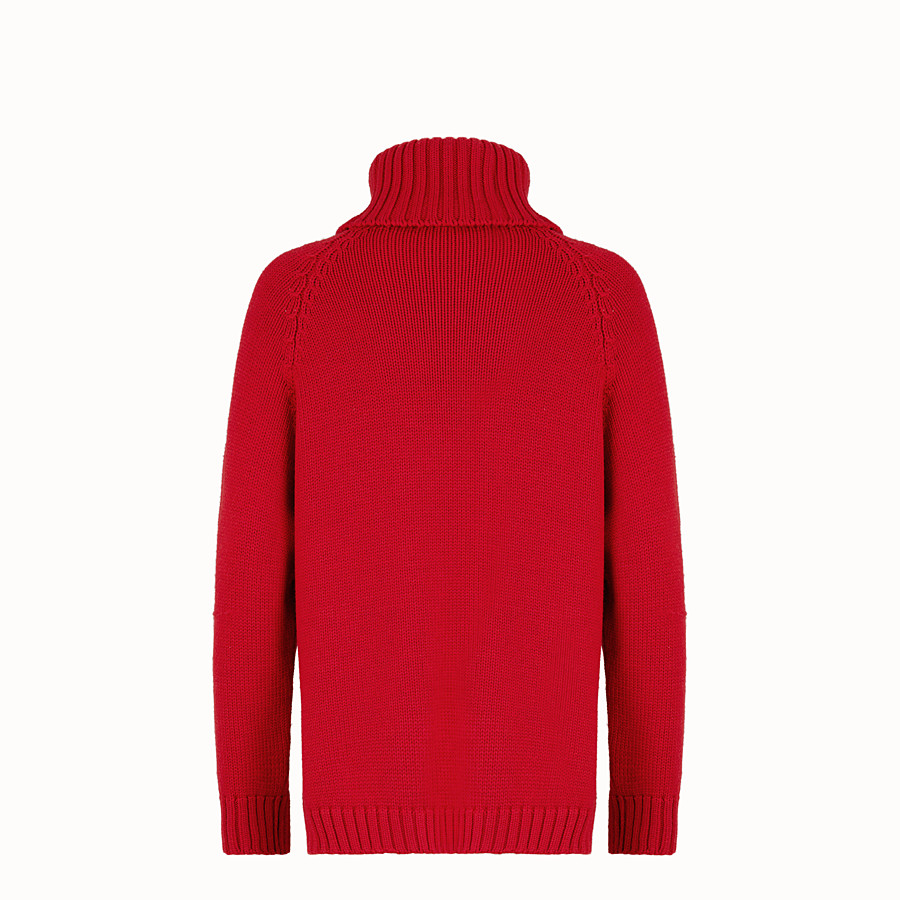 FENDI Turtleneck - Red wool jumper - view 2 detail