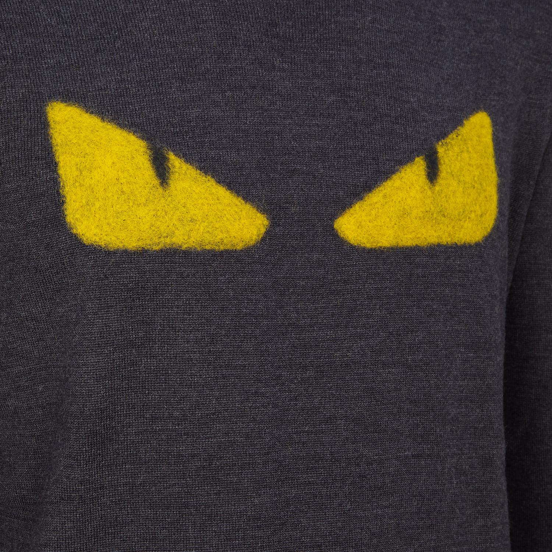 FENDI SWEATER - Gray wool round-neck sweater - view 3 detail