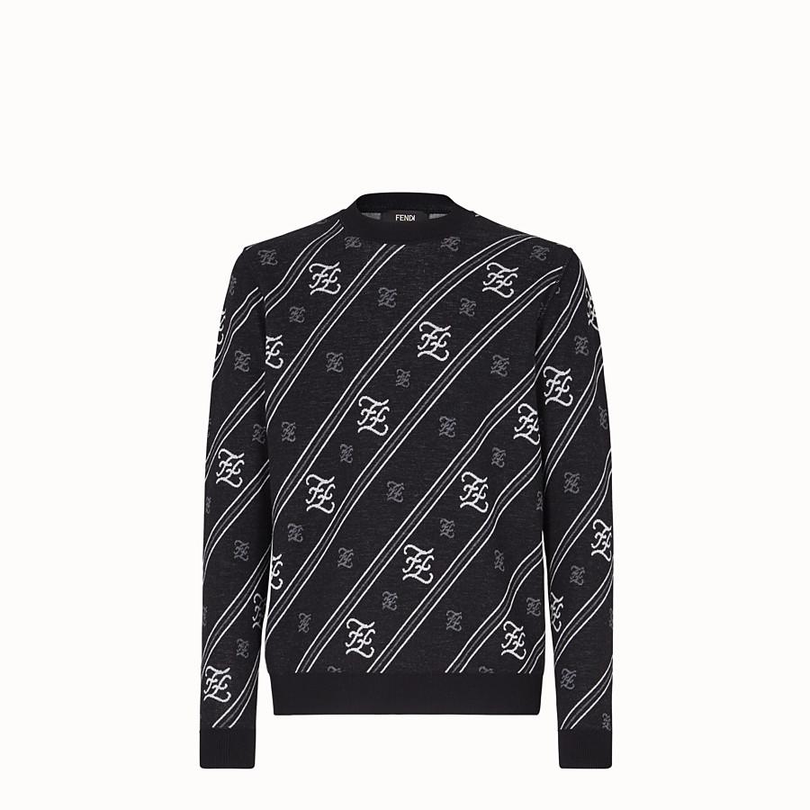 FENDI PULLOVER - Maglia in lana nera - vista 1 dettaglio