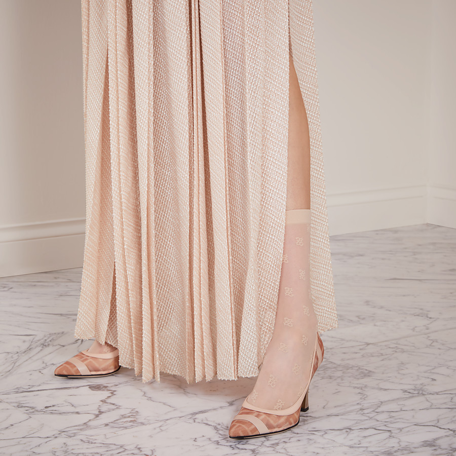 FENDI COURT SHOES - Colibrì in pink mesh and nude leather - view 5 detail
