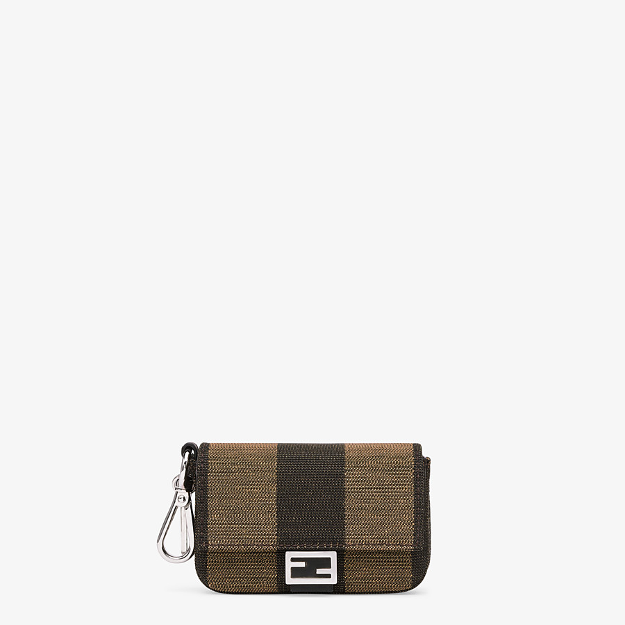 FENDI NANO BAGUETTE CHARM - Brown fabric charm - view 1 detail
