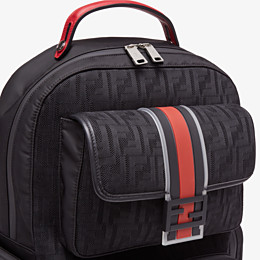 FENDI BACKPACK - Black tech fabric backpack - view 4 thumbnail