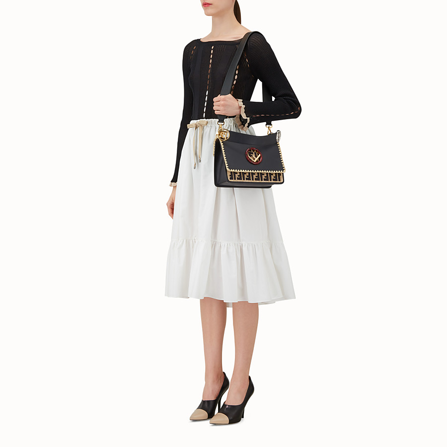FENDI KAN I F - Black leather bag with exotic details - view 5 detail
