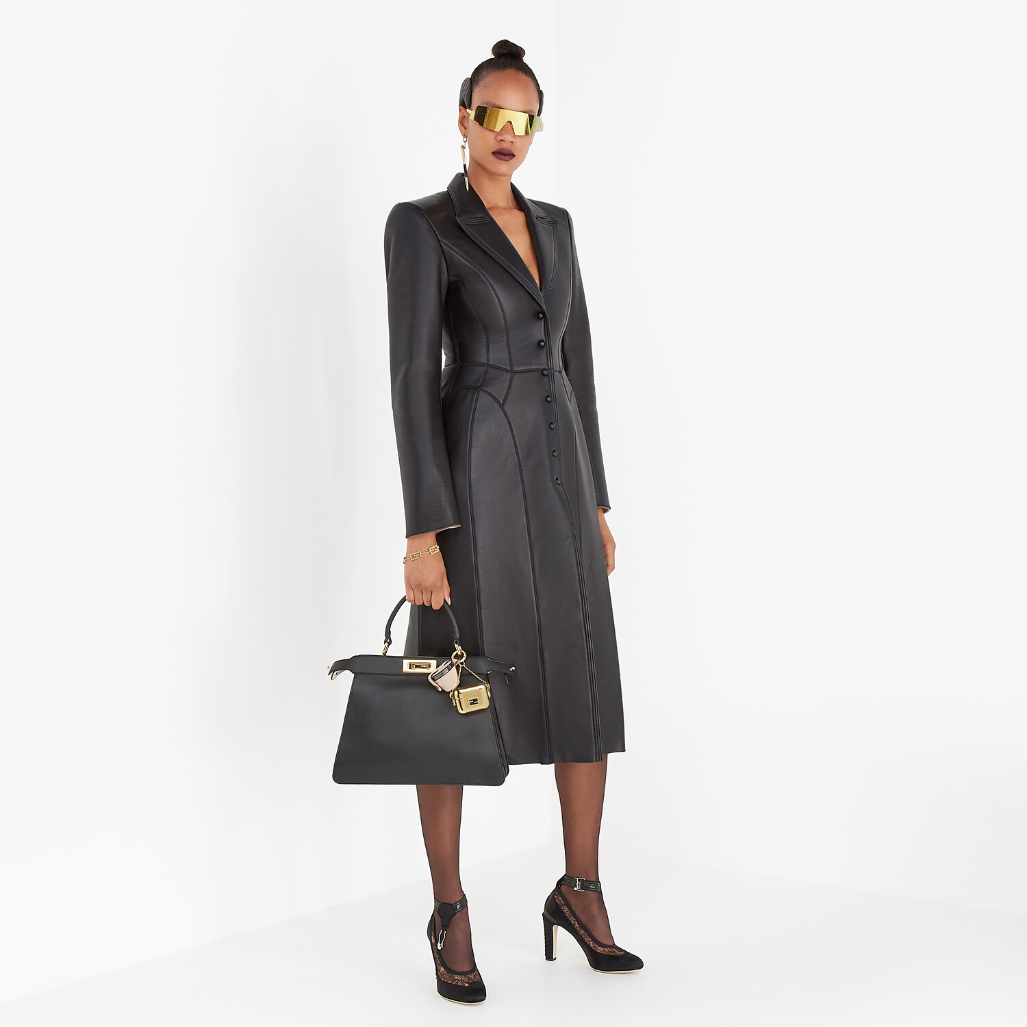 FENDI COAT - Black leather coat - view 4 detail