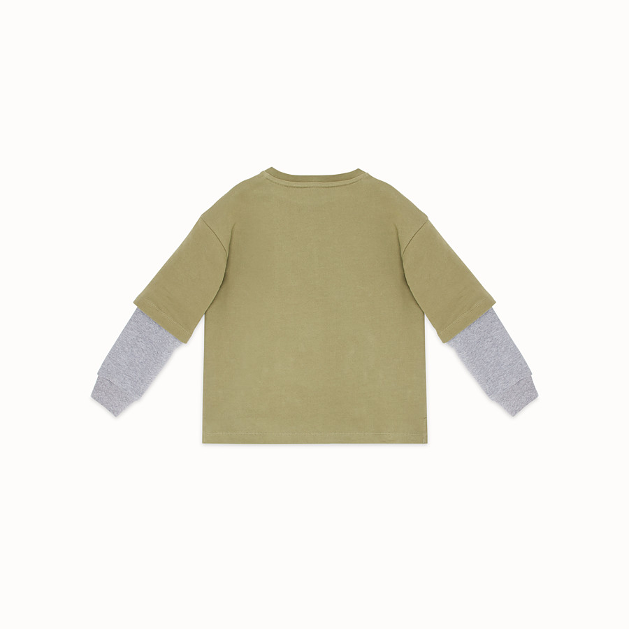 FENDI DOUBLE EFFECT SWEATSHIRT - Khaki cotton sweatshirt - view 2 detail
